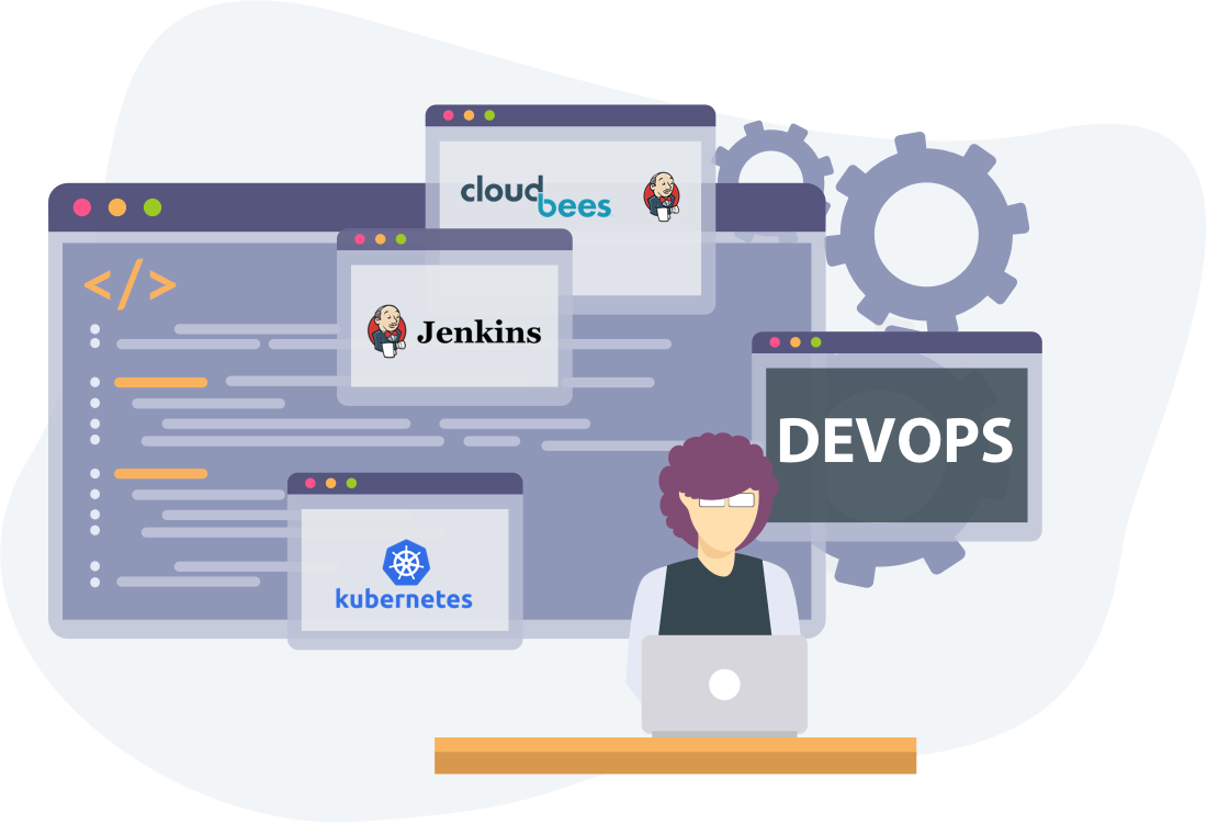 Image illustrating the DevOps Toolchain with logos of Cloudbees and Jenkins and the software development machine illustrated by source code and cogs
