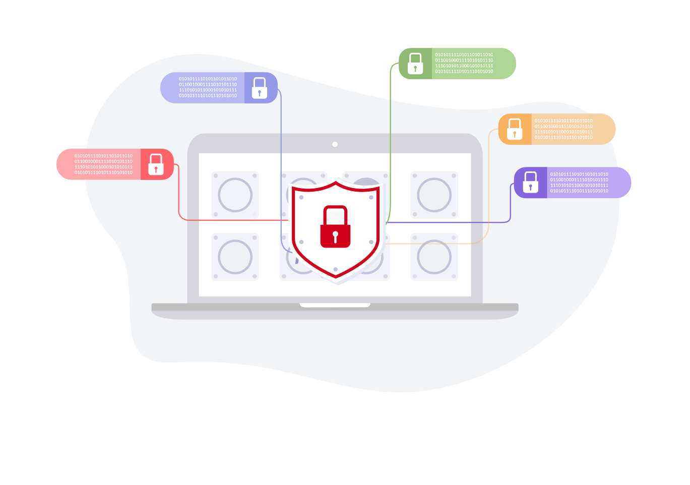 Illustration depicting an image of a laptop a cloud and lock to symbolise cloud security